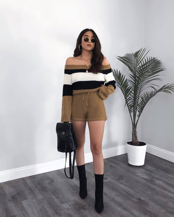 romper long sleeve romper knitwear stripes off the shoulder ankle boots black boots backpack sunglasses earrings