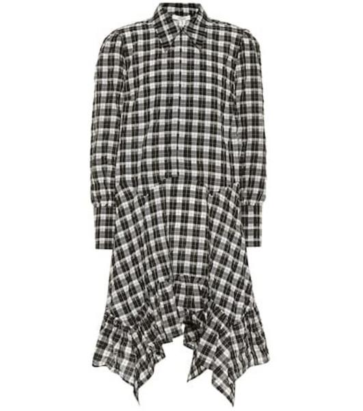 Ganni Seersucker cotton-blend checked dress in black