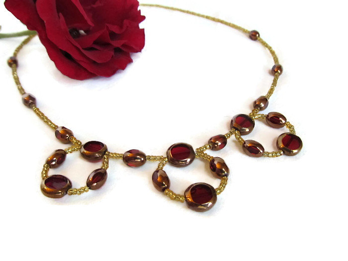 Red And Gold Beaded Loop Necklace Red Gold Hoop Necklace