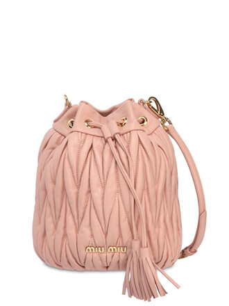 quilted bag bucket bag leather pink