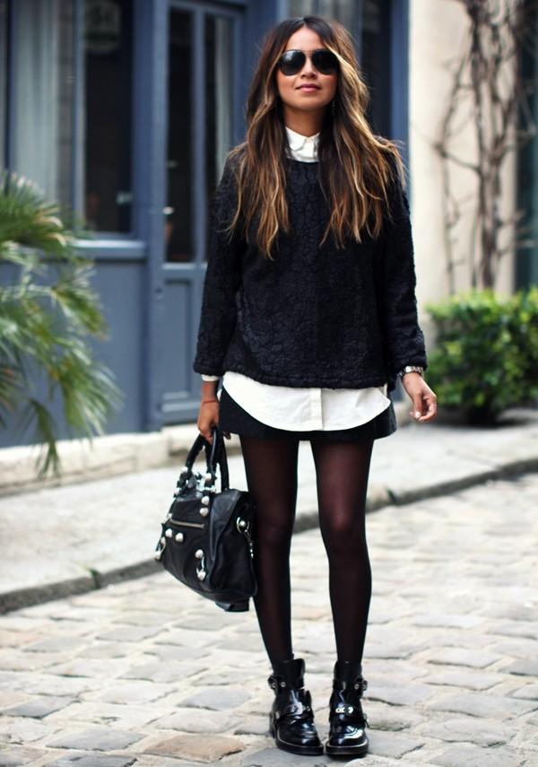 sincerely jules sweater shirt skirt jewels shoes black sweater white shirt monochrome new york sunglasses vanessa hudgens