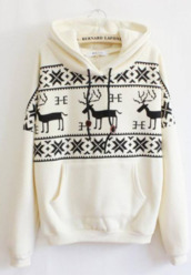 sweater,cream,christmas,christmas sweater,warm,winter outfits,winter sweater,jumper,fluffy,attic,sweatshirt,hoodie,deer,elk,cold,white,aztec,comfy,cozy,white hoodie,jacket,top,black,black and white