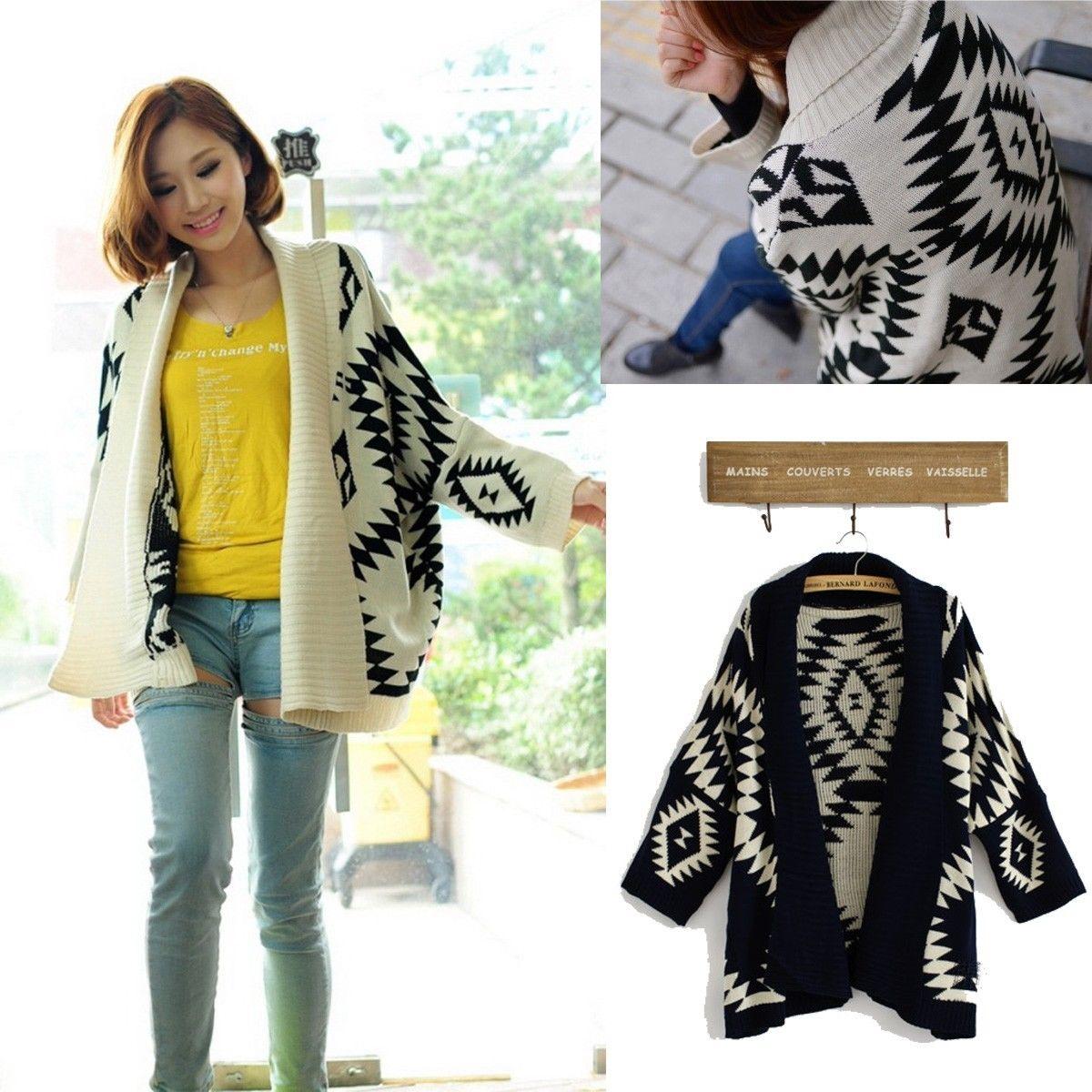 damen aztec open front wrap cape sweater strickjacke oversized cardigan jacke ebay. Black Bedroom Furniture Sets. Home Design Ideas