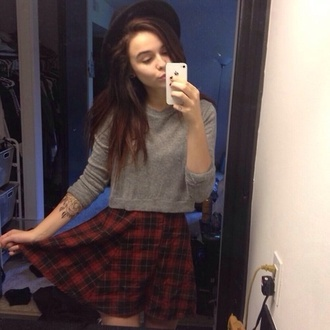 skirt acacia brinley amazing tumblr beautiful summer girl red black grey hopdie sweater hat plaid hipster grunge plaid skirt t-shirt fedora grey sweater casual top