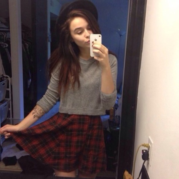 63aeaea70f skirt acacia brinley amazing tumblr beautiful summer girl red black grey  hopdie sweater hat plaid hipster