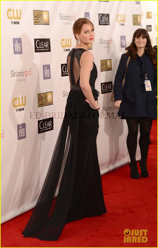 Lawrence Dress Black Evening Critics Choice Awards 2013 Red Carpet ...