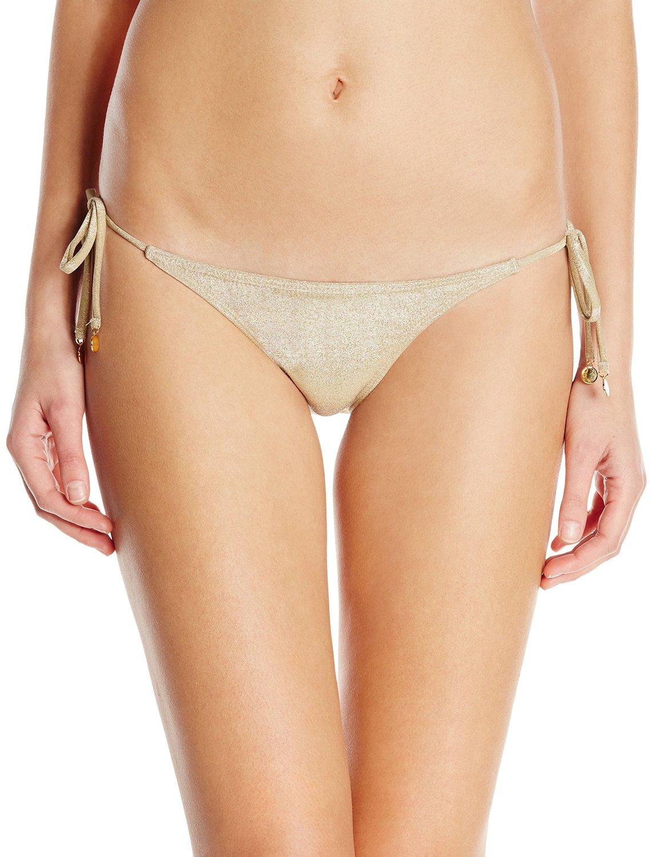 OndadeMar Women's Everyday Tie Side Bikini Bottom, Gold ...