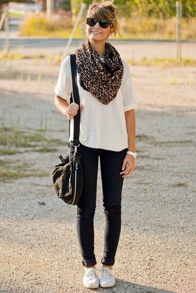 shoes jeans leopard print scarf cute bag t-shirt