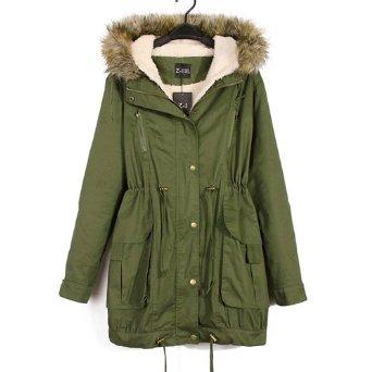 Women Fleece Winter Coat Zip Hooded Parka Overcoat Long Jacket