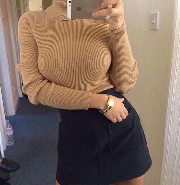 shirt skirt black skirt pockets mini skirt sweater nude camel tumblr summer black fashion spring tan turtleneck beige sweater dress