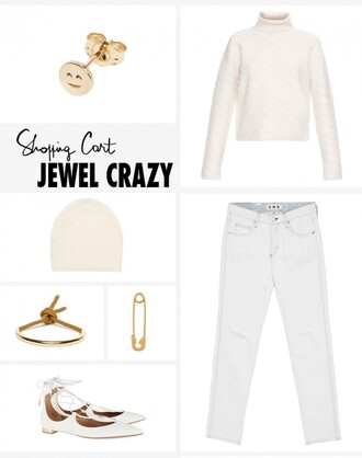 garance dore blogger jeans turtleneck straight jeans gold earrings strappy flats pointed flats