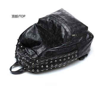 bag black skull studs silver backpack bookbag back to school