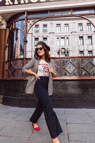 pants black pants shoes red shoes blazer grey blazer wide-leg pants t-shirt white t-shirt