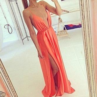 dress coral dress coral maxi prom flowy dress long prom dress