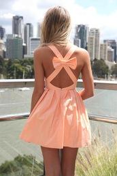 dress,women's online,fashion,apricot,cross back bow dress,cute bow back dress,mini dress,australian brand,sexy,Bow Back Dress,womens latest trend