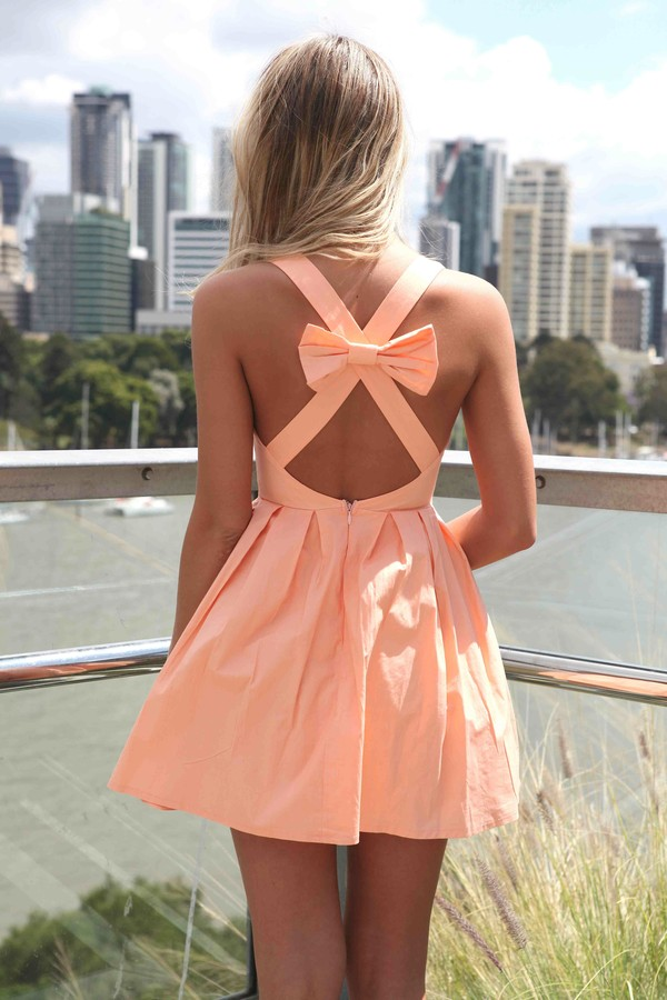 dress women's online fashion apricot cross back bow dress cute bow back dress mini dress australian brand sexy Bow Back Dress womens latest trend