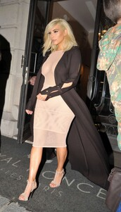 dress,nude,mesh,mesh dress,kim kardashian,fashion week 2015,coat,sandals,shoes