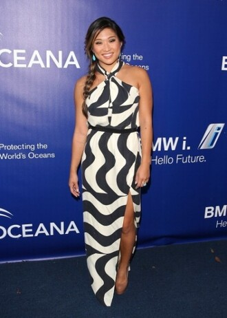 dress top maxi dress jenna ushkowitz black and white dress skirt