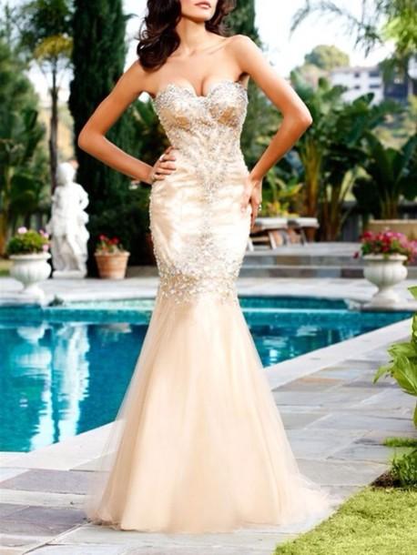 dress nude gold embellished mermaid long prom dress maxi dress