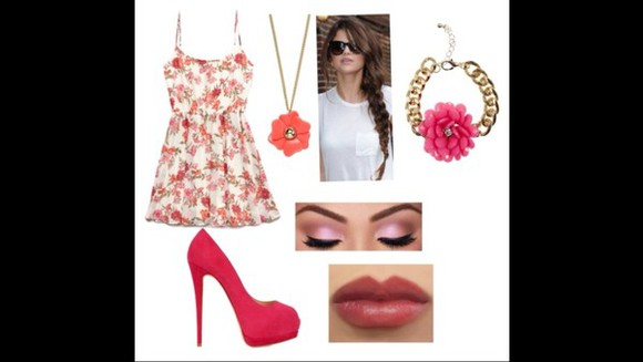 dress floral dress pink pink pumps floral jewelry