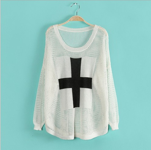 FREE SHIPPING Autumn new women's round neck long sleeved sweater Cross Hollow Cotton blended white, black, dark blue, beige T594 on Aliexpress.com