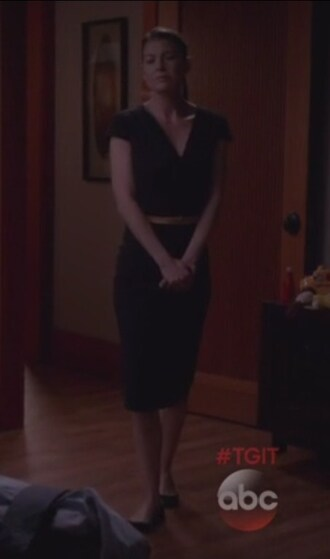 dress black meredith grey grey's anatomy ellen pompeo