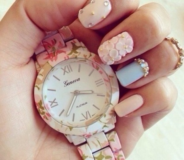 jewels floral watch girly flowers flowers green light pink roman numerals nail accessories clock geneva whatch nail polish pink