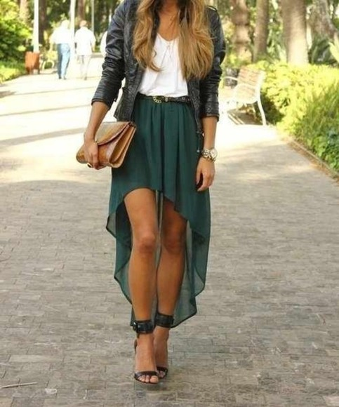 skirt high low skirt green