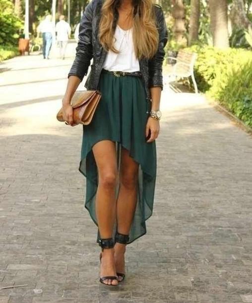 b7bcb1de08 skirt high low skirt green shirt long skirt dark green white top leather  jacket pumps heels