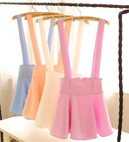 Pure color skirts braces skirt  / fanewant
