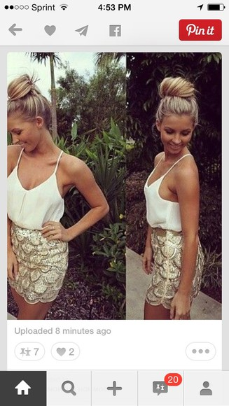 sparkly dress sparkle gold skirt sca white tank top white blouse scalloped edges scalloped skirt gold and white sequin