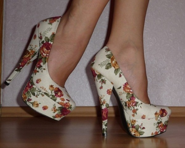 shoes high heels flowers cute high heels