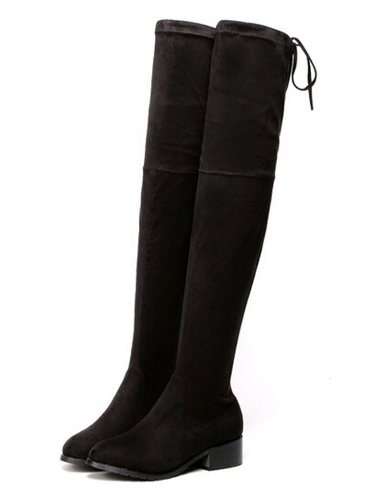 Back lace up boots - Black Stretch Suedette Lace Up Back Over The Knee Boots