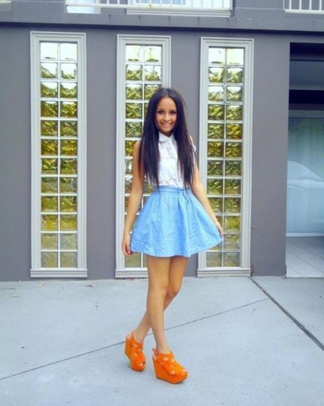 shoes high heels white blouse blue skirt orange