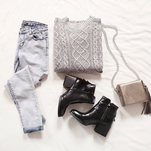 jeans shoes sweater