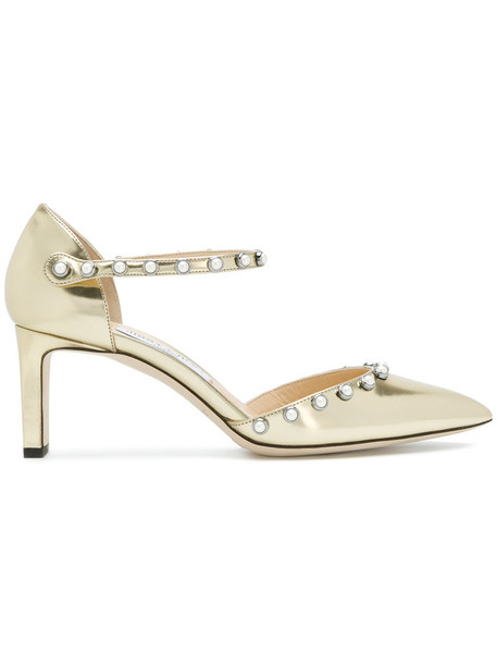 Jimmy Choo women pearl embellished pumps leather grey metallic shoes