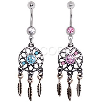 jewels pink blue dreamcatcher belly button ring earning peace sign