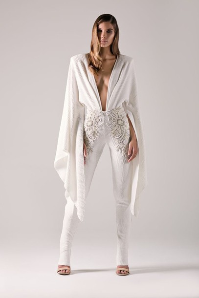 1f4a0bb84b53 jumpsuit white prom beaded lace