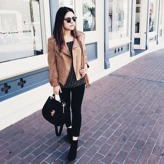 jacket blouse stripped jeans boots style