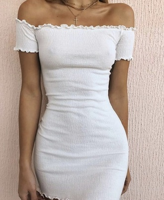 dress white tight off the shoulder