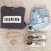sweater,fashion,shorts,jewels,shirt,grey,hoodie,cozy,sweatshirt,fashion sweatshirt,grey sweater,crewneck,denim shorts,studs,clothes,gold chain necklace,gold chain bracelet,white converse,jeans,ripped,studded,fray,light