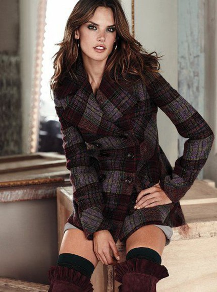 victoria's secret plaid coat flannel