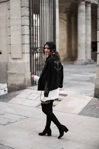 jacket tumblr black jacket sweater knit knitwear knitted sweater white sweater skirt mini skirt boots black boots over the knee boots over the knee