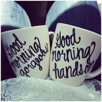 bag coffee mug couples mug goodmorning breakfast