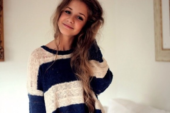 white knitted sweater stripes horizontal stripes blue knitted sweater knitwear winter sweaters hippie hipster indie