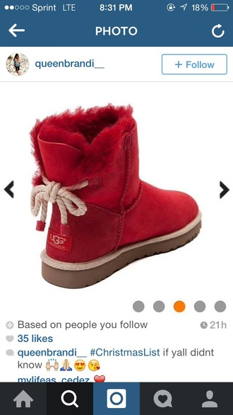 shoes boots ugg boots red fashion different