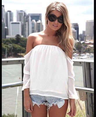 blouse flowy style shear shirt white t-shirt white top white shirt flower shirt boho chic boho shirt fashion summer dress summer top warm spring off the shoulder sweater top trendy