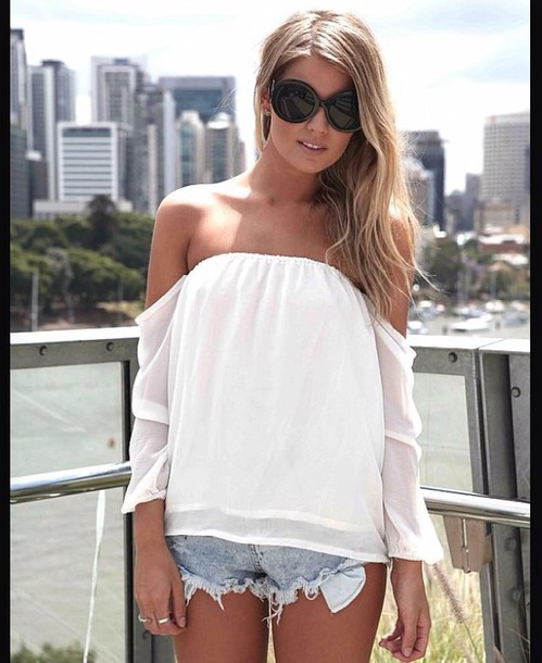 blouse flowy style shirt white top white shirt flower shirt boho chic boho shirt fashion summer dress summer top warm spring top trendy trendy off the shoulder top peasant top