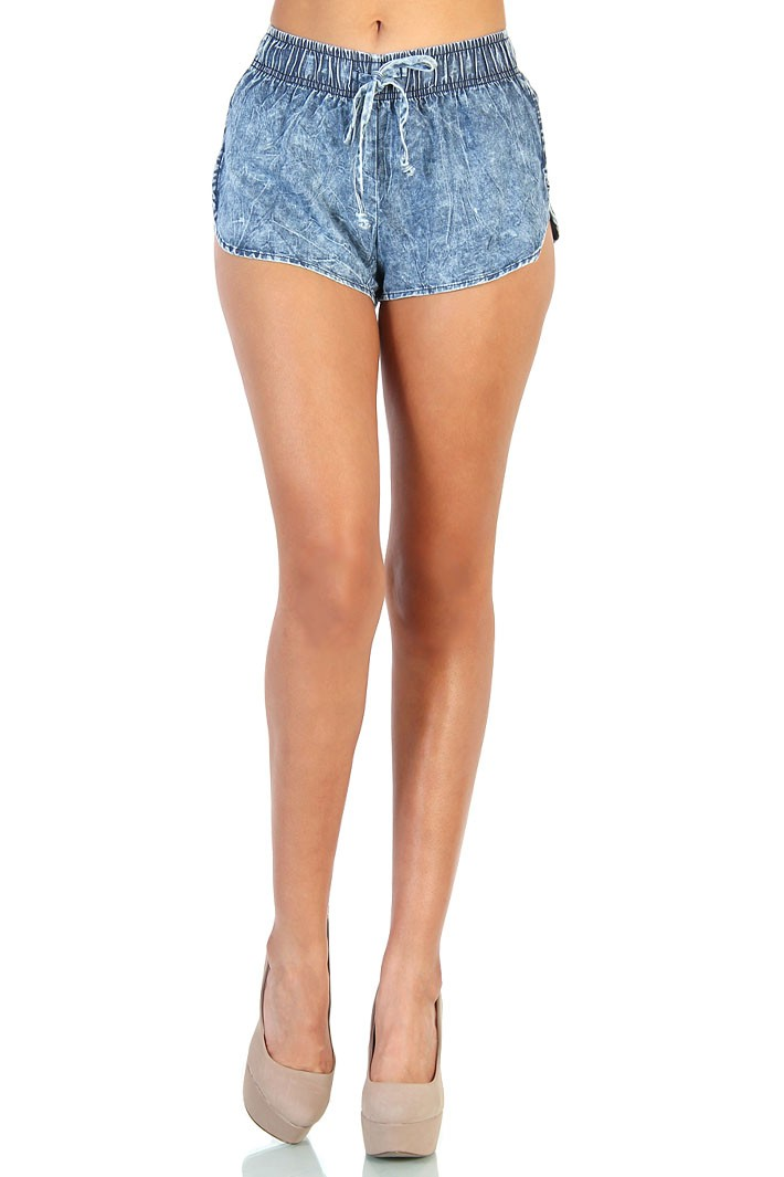 Acid Wash Denim Shorts - Blue