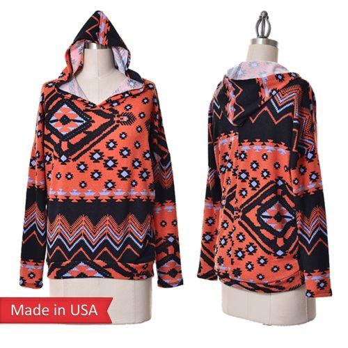 Women aztec tribal print hooded hoodie oversized sweater top sweatshirt usa